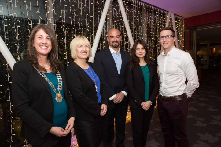 President of Network Cork Helen Wycherley, Celtic Ross Hotel, Deirdre O'Shaughnessy, 96fm, Ronan Murphy, Chariman of IT@Cork, Raluca Saceanu, Marketing Manager, Smarttech Digital and Denis Canty, Tyco at the Network Cork and it@cork event at the Clarion Hotel on the subject of the Internet of Things and Cybersecurity in the Clarion Hotel. Pic Darragh Kane.