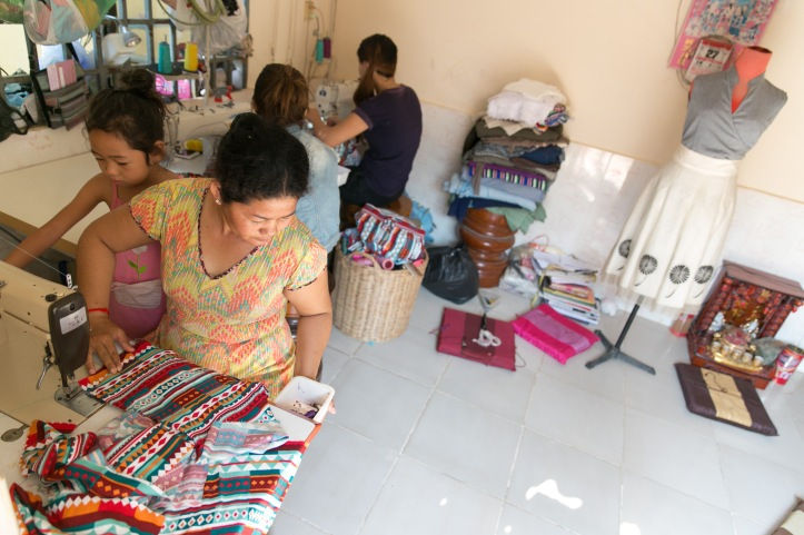 Oun and her team, hard at work, at home in Siem Reap. Photo: Rory Coomey