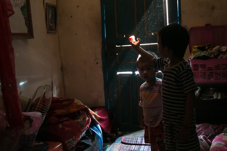 Some of the kids whose rent and schooling Momo pays for, at home in Sihanoukville. Photo: Rory Coomey