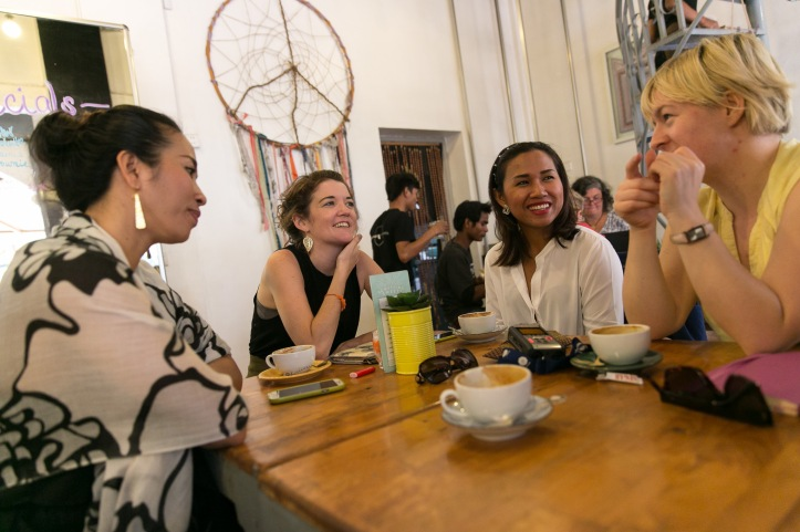 Meeting Kim and Carol from Banteay Srey Boutique with supplier Rani, of Jivit Thmey jewellery. Photo: Rory Coomey