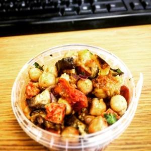 Chickpea, chorizo and roasted vegetable salad.