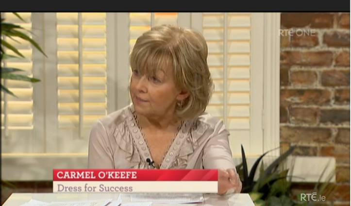 Carmel O'Keeffe of Dress for Success Cork on the RTE Today Show.