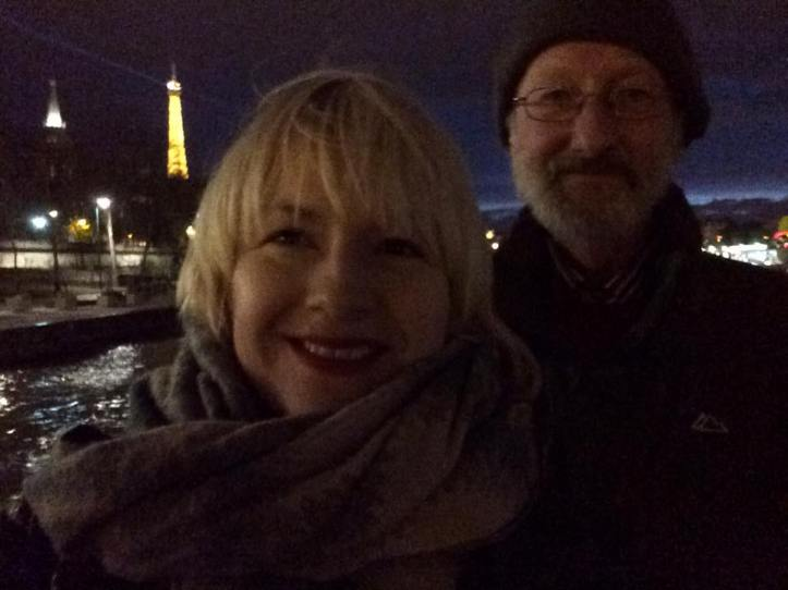 On the boat tour with my Dad - and yes that's the Eiffel Tower in the background!