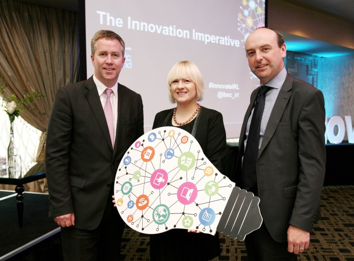 """At the IBEC Regional Insights Series """" The Innovation Imperative """" at the Maryborough Hotel were L to R., Paul Stapleton, General Manager, Electric Ireland ( Sponsor ), Deirdre O'Shaughnessy, Editor, and Presenter at Cork 96FM ( Event Moderator ) and Fergal O'Brien, Director of Policy, IBEC. Picture, Tony O'Connell Photography."""