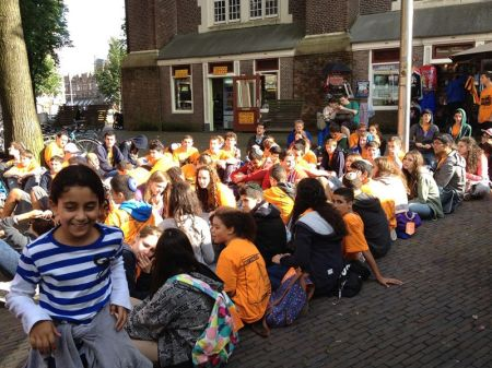 A group outside the Anne Frank House, Amsterdam